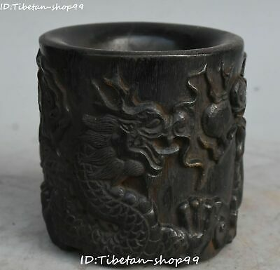 Natural Oxhorn Ox Horn Dragon Phoenix God Beast Brush Pot pencil Holder vase