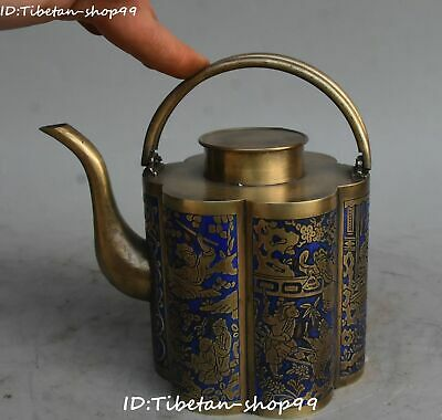 Unique Bronze Painting Flower Tongzi Child Tea Pot Kettle Flask Flagon Statue