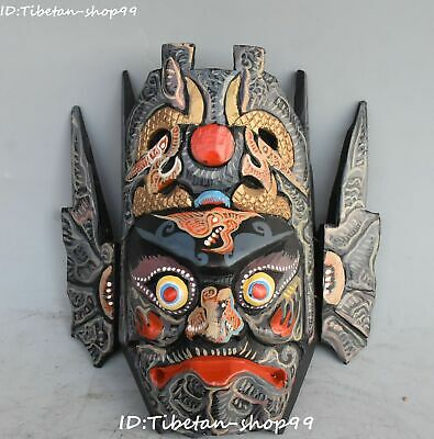 Pure Hand Wood Painting Buddhist Mahakala Wrathful Deity Buddha Mask Statue