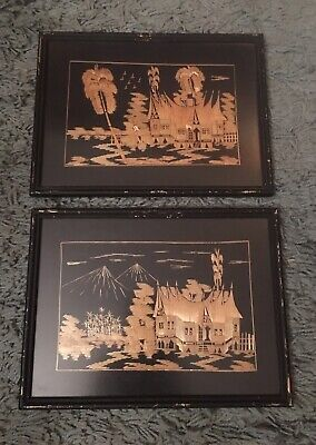 Pair Vintage Oriental  Handmade Bamboo Asian Art Pictures Framed