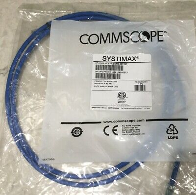 3FT Commscope CPCSSX2-02F0 Light Blue Cat-6A Solid Cordage Modular UTP Patch Cord Pack 7
