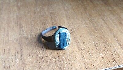 Ancient BRONZE RING WITH Black Stone