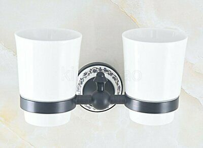 Oil Rubbed Bronze Bath Tumbler Toothpaste Toothbrush Holder Double Ceramics Cups