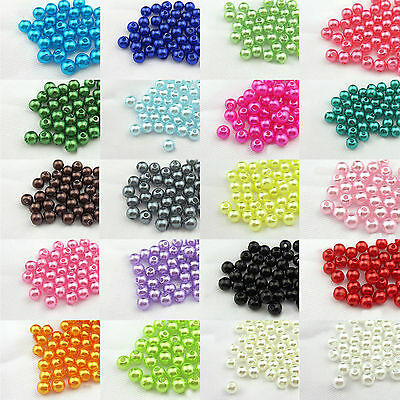 4mm 6mm 8mm Colour Acrylic Round Pearl Spacer Loose Beads Jewelry Making