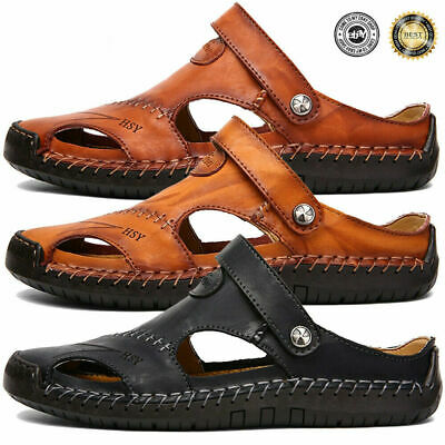 Mens Leather Sandals Shoes Outdoor Walking Fisherman Slippers Closed Toe SIZE 13