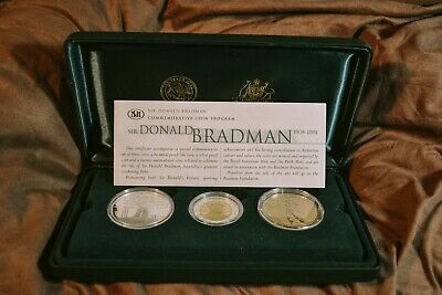 Sir Donald Bradman 3-Coin Proof Set Gold Silver Bronze Royal Australian Mint