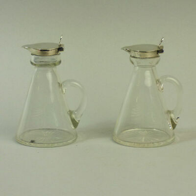 George V Antique Pair Of Silver & Glass Whisky Tots Birmingham 1915