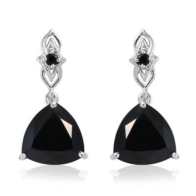 8acd8c650 Dangle Drop Earrings Gift 925 Sterling Silver Trillion Black Spinel Ct 13.11
