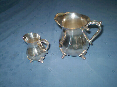 vintage viners ornate silver plated milk jug & cream jug