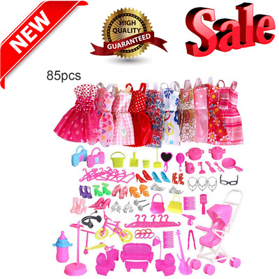 85 Pcs Doll Clothes Huge Lot Gown Outfits Party Accessories Barbie Girl NEW