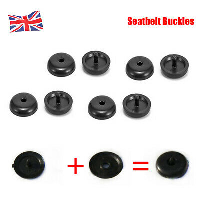 4× Black Universal Seat Belt Buckle Buttons- Holders Studs Retainer Stopper Rest