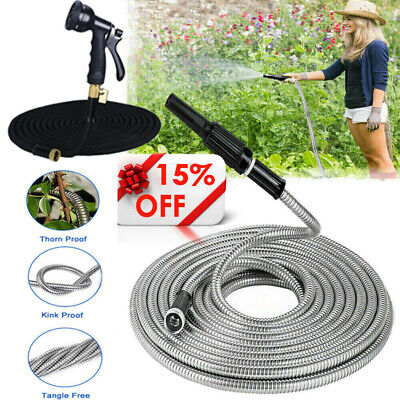 75-100FT Stainless Steel Garden Hose Pipe with 3X Expandable Flexible Spray Gun