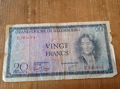 20 Luxembourg Francs banknote