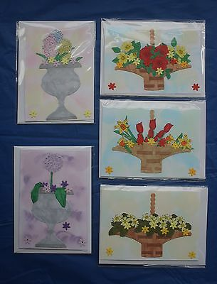 5 Floral Mini Card Notelets Handmade Blank Greeting Hand Painted Roses Tulips