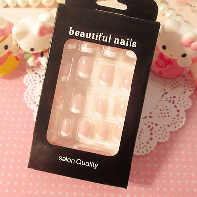 24pcs Women's French Style DIY Manicure Art Tips False Nails with Glue ZY