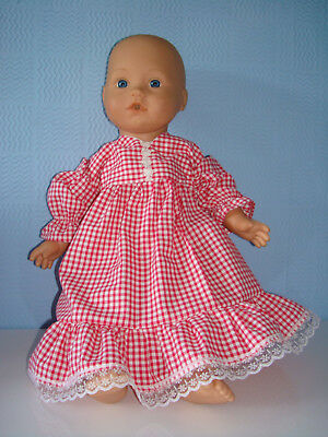 """Handmade Pink Gingham Lace  Frill Dress. Fit Baby Born/Annabell16/18"""" Doll"""