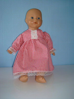 """Handmade Pink Gingham Lace Polycotton Dress. Baby Annabell  18"""" Doll"""
