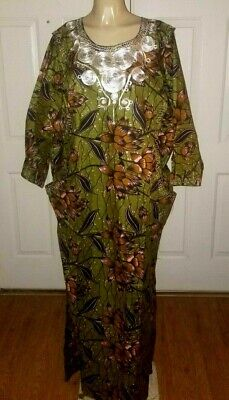Beautiful Floral Traditional Tribal Dashiki Olive Plus One Size