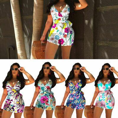 Women Sexy Sashes Printed jumpsuit Romper VNeck Top& Short Pant Playsuit 2pieces