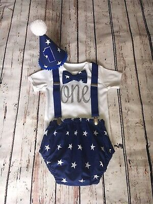 Baby Boy First 1st Birthday Cake Smash Prop Blue Stars Boys Outfit Nappy Cover
