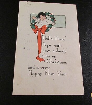 Old Greeting Postcard---<CHRISTMAS & HAPPY NEW YEAR>---[1916]