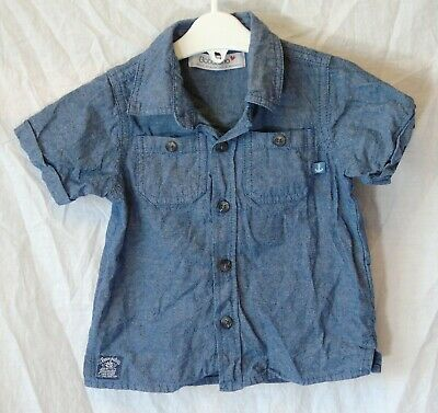 Baby Boys Babaluno Blue Denim Look Short Sleeve Shirt Age 12-18 Months