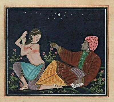 Persian Painting A men Enjoying with Lady Handmade Fine Art work Painting