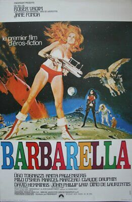 BARBARELLA Affiche Cinema ROULEE 53x40 Movie Poster Jane Fonda Ressortie