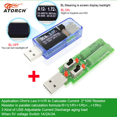 ATORCH 12 in 1 USB Tester. + Dummy Load Of 1Amp 2Amps And 3Amps