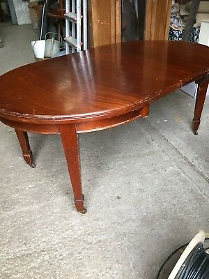 Antique Vintage Mahogany Extending Dining Table With Winder on Casters 7/1/G