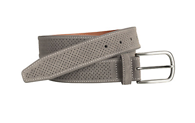 Mens Johnston & Murphy Perforated Belt - Gray Suede [75-7356]