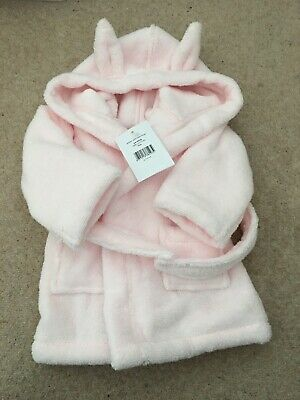 Baby Girl Pink Dressing Gown Bath Robe 0-6 Mths Little White Company  Bunny Ear