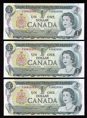 Lot of 3 Consecutive - 1973 Bank of Canada Uncirculated $1 Banknotes - Cat#46a
