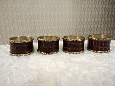 Vintage Set of 4 Brass and Leather Napkin Rings Servette Rings