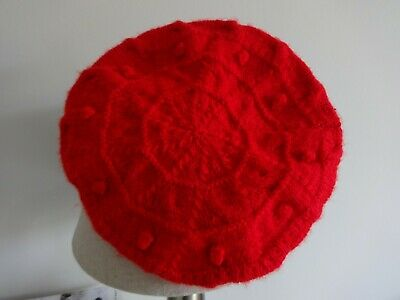 1940's style beret hand knitted bright red retro Christmas land girl wartime