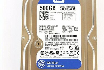 Western Digital Blue 500GB SATA Internal 7.2K Hard Drive WD5000AAKX 3.5""