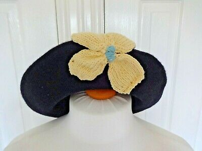 1940's vintage style black beret hat with knitted yellow flower retro land girl
