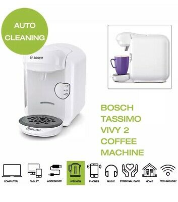 Bosch Tassimo Vivy 2 TAS1404GB Coffee Machine, 1300W - White