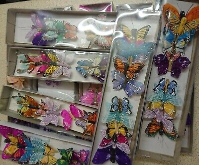 12 Feather butterflies, assorted designs, colours, shapes, sizes, single colours