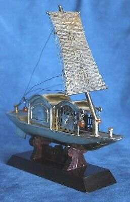 Vintage Chinese Export Filigree Silver Gilt Antique Boat Ship Sycee Junk China
