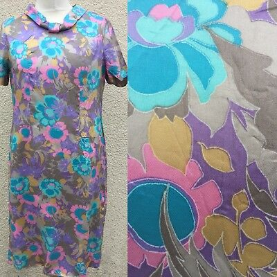 TRUE VINTAGE 50's 60's SILKY RAINBOW PSYCHEDELIC PRINT SHIFT TEA DRESS 12