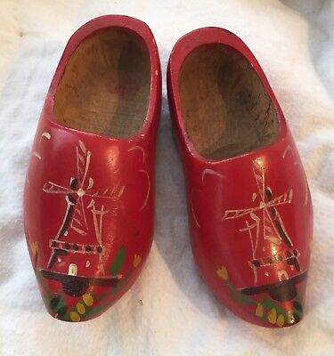 Vtg Pair Child's Red Wooden Dutch Holland Shoes Clogs w/ Hand-Painted Windmill