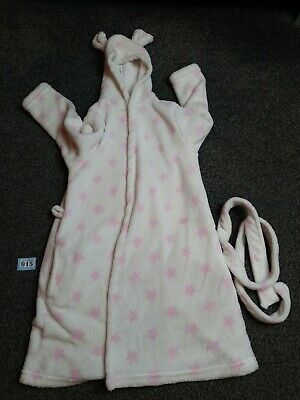 girls warm winter white and pink stars dressing gown age 7-8