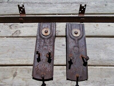 "Antique National Barn Door Hardware Rollers and 71"" Ribbon Track"