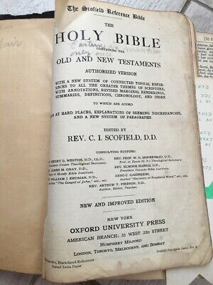 Antique 1917 Oxford Holy Bible Black Leather Scofield Reference Ed. Distressed