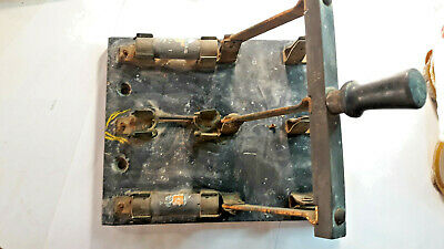 Vintage antique Triple Pole, Double throw High current Electrical Switch with Fu