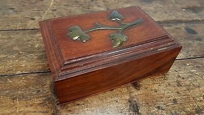 Vintage Wood Hinged Cigar Cigarette Jewellery Money Box With Brass Flower Design
