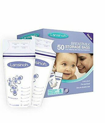 50 x pcs Pack Lansinoh Breast Milk Storage Bags Sterilized Breastmilk Pouches