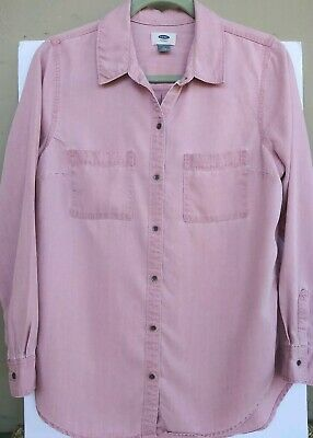72c77962 Old Navy Women's Chambray Button Down/Up Shirt Soft Tencel Pink Size Medium