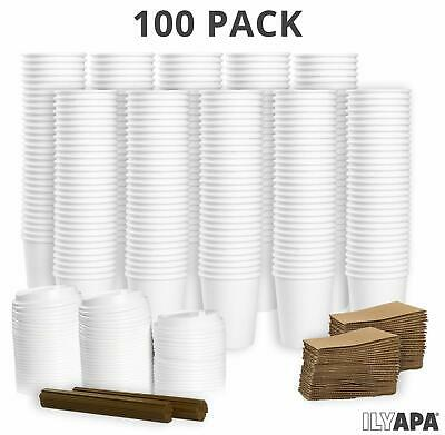 100 Pack - 12 oz To Go Coffee Cups with Sleeves, Lids & Stirrers - Disposable
